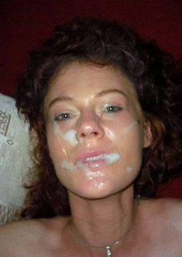 Curly houwife with lots of cum on her..