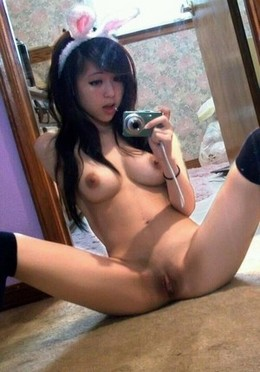 Asian sex selfie, Bunny ears.