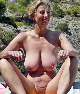 Perverse blonde pure mature nudist..